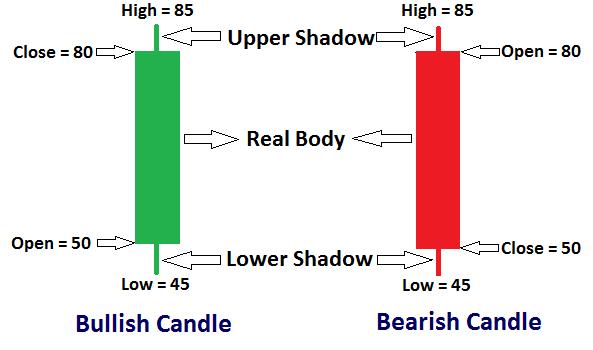 bullish and bearish candlesticks or candles